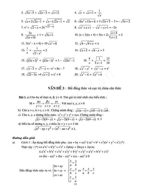 Các bài toán về căn thức thi vào lớp 10 (phần 2)